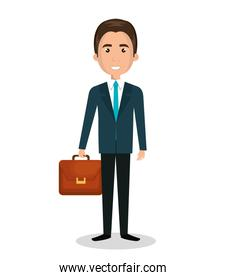 cartoon man executive business briefcase isolated