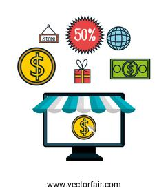 online shopping e-commerce discount isolated