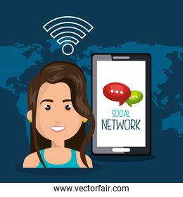 woman smartphone wifi online isolated