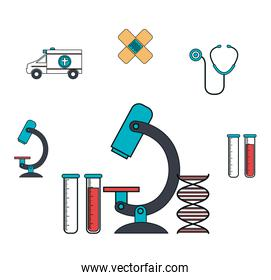 set microscope services medical isolated