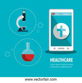set smartphone services medical isolated