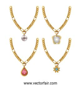 set necklace gems jewelry isolated