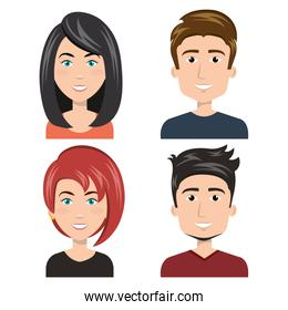 set diverse persons young isolated