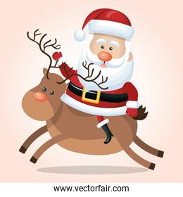 santa claus reindeer christmas isolated