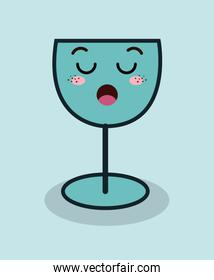 cartoon glass wine facial expression isolated icon design