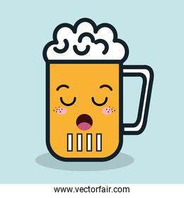 glass beer cartoon facial expression isolated icon design