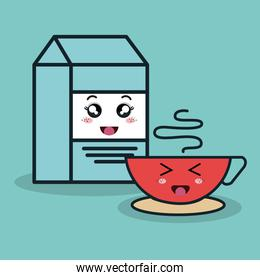 cartoon box milk and cup coffee with facial expression isolated