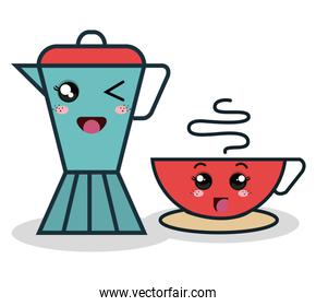 cartoon coffee maker with facial expression and cup red isolated
