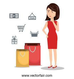 cartoon woman e-commerce buy isolated design