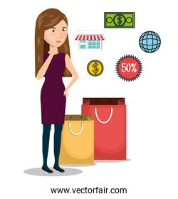 cartoon woman e-commerce isolated design