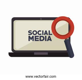 laptop search social media isolated icon design