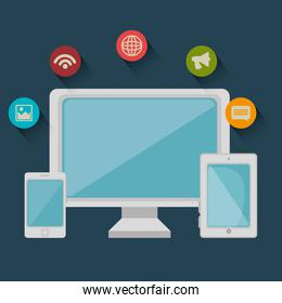technology social media isolated icon design