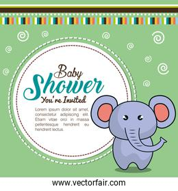 invitation baby shower card with elephant desing
