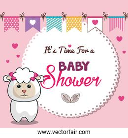 invitation baby shower card pink with sheep desing