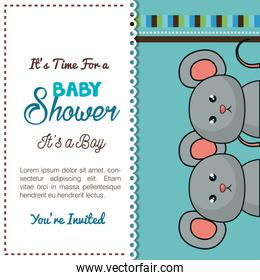 baby shower card mice twins design