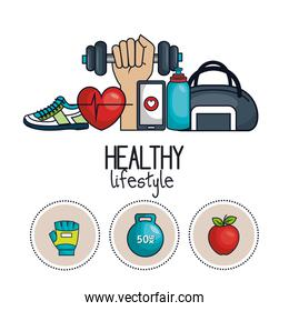 healthy lifestyle concept icons sport design