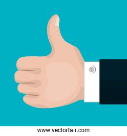 symbol thumb up with suit isolated