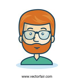 character man bearded hipster isolated