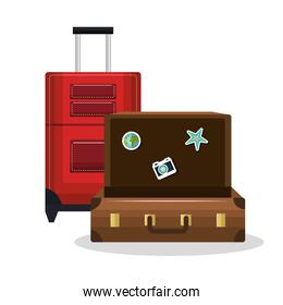 suitcase old and suitcase red with wheels design isolated