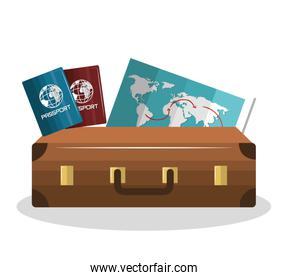 cartoon suitcase with passport and map isolated