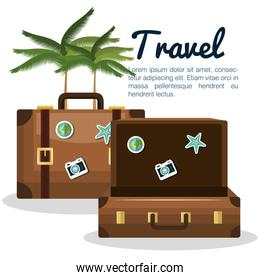 travel suitcase vacation with palm tree design