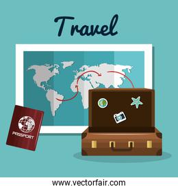 travel suitcase passport and map vacation design