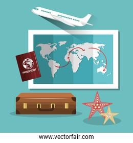 travel suitcase passport map and airplane design