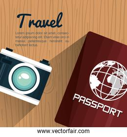 travel passport and camera photography vacation design
