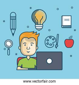 guy education online with laptop design