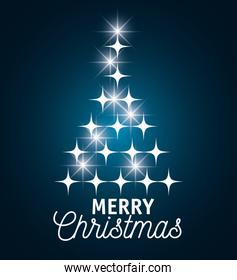 card merry christmas with star tree graphic