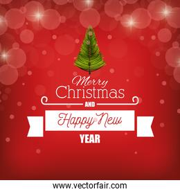 card merry christmas new year with banner graphic