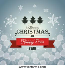 card merry christmas new year red banner graphic