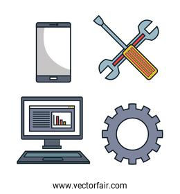 set tools data center graphic isolated