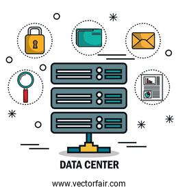 data center tower icons isolated