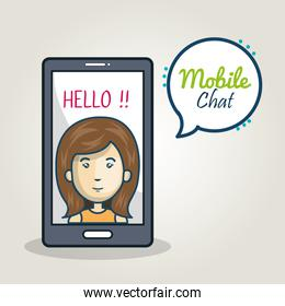 cartoon smartphone woman mobile chat graphic
