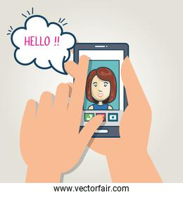 cartoon smartphone hand holding mobile chat graphic