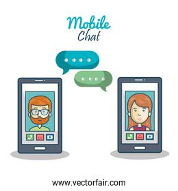 cartoon smartphone chracter mobile chat graphic