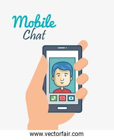 cartoon smartphone hand holding man mobile chat graphic