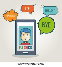 cartoon smartphone man mobile chat graphic