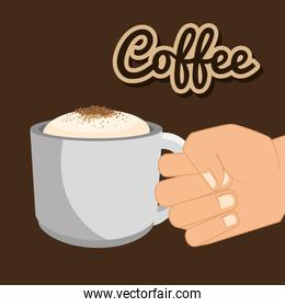 coffee cup hand holding graphic