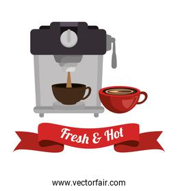 coffee maker with cup and banner graphic