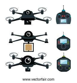 differents drone and remote control graphic