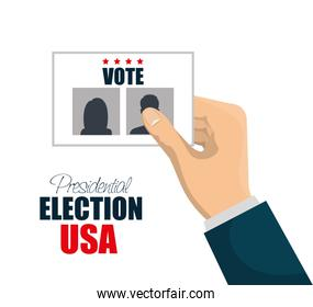 hand with vote election presidential graphic