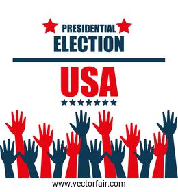 hands raised up election presidential graphic