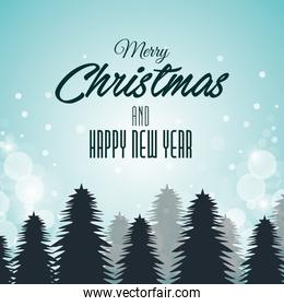 christmas card and new year pines and clouds graphic
