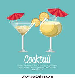 cocktail pineapple and martini with umbrella