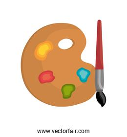 cartoon pallette paint color brush isolated graphic