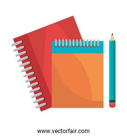 notebooks pencil isolated design