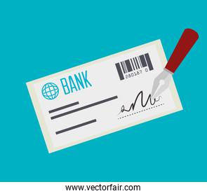 bank check payment isolated