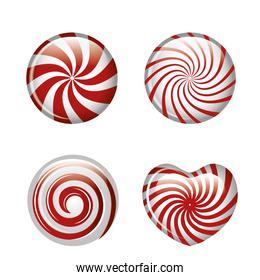 set candies spiral red graphic isolated